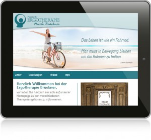 Website Ergotherapie-Annaberg auf Tablett